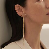 Fashion Long Tassel Earrings Women Crystal Ear Stud Drop Dangle Wedding Jewelry