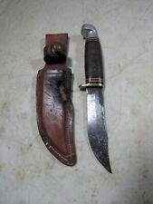 Vintage 1984 Western Cutlery USA L66 H Fixed Blade Hunting Knife W/Sheath
