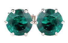 Natural Zambian Emerald 3.00Ct Round Cut Solitaire Studs In 925 Sterling Silver