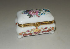 AUTHENTIC LIMOGES painted flowers jewelry box flower clasp    france TRINKET BOX