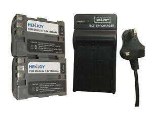 2x EN-EL3E Battery& UK plug Charger for Nikon D30 D50 D70 D70S D80 D90 D100