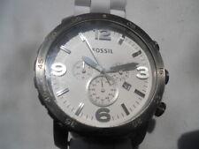 Fossil chronograph men's white rubber band.Analog,quartz & battery watch.Jr-1423