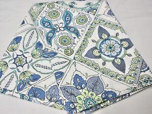 CYNTHIA ROWLEY Cotton Blend SHOWER CURTAIN Blue Green Moroccan Boho Tile Print