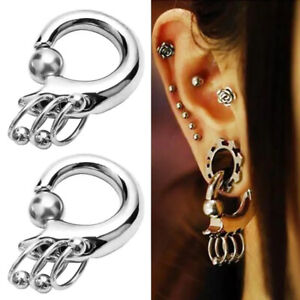 Surgical Steel Spring Ball Ring Ear Weights Large Gauge Stretched Lobe Piercings