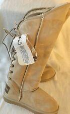 New LOVE FROM AUSTRALIA Knee Length Beige Boots Size 9M Sheepskin Fleece
