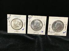 3 - 1964 D - J. F. K. Unc Silver Half Dollars.