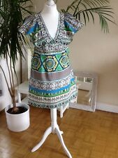 UK.  6.   DRESS,         LINED,       COTTON,    CAP SLEEVES,   V NECKLINE