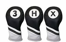 Majek Golf Headcover Black & White Leather Style 3 X H Woods & Hybrid Head Cover