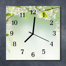 Glass Wall Clock Kitchen Clocks 30x30 cm silent Spring Green