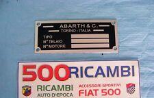 FIAT 500 F/L/R TARGHETTA RIASSUNTIVA DATI IN METALLO TIPO ABARTH PER VANO MOTORE