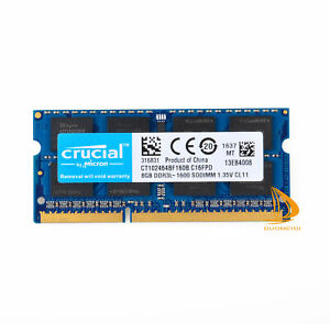 Crucial 8 GB 2Rx8 PC3L-12800S DDR3L-1600MHz SODIMM Laptop-Speicher RAM 204Pin ^H