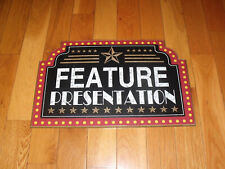 """12 X 19"""" Wood Sign """"Feature Presentation"""" Movie Theater~Man Cave Guc"""