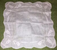 Vintage Embroidered Handkerchief - White Floral Pattern
