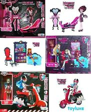 Monster High Draculaura & Bath, Clawdeen & Coffin Bean + Ghoulia & Scooter Sets