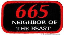 665 NEIGHBOR OF BEAST iron-on PATCH - 666 PARODY DEVIL SATANIC JOKE embroidered