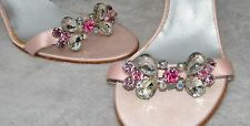 New! WOMENS ANNE KLEIN PINK Satin PEEP TOE HEELS SHOES  with a Stones SIZE 10M.