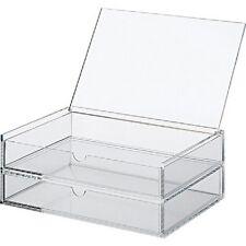 New Muji Large Acrylic case 2 Drawers Makeup Jewelry Box Japan