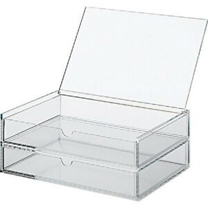 New Muji Large Acrylic case 2 Drawers Makeup Jewelry Box Japan