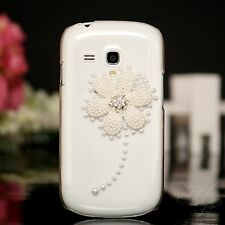 Samsung Galaxy S Duos s7562 Hard Case Case Pouch Beads Stones 3d Flower Clear
