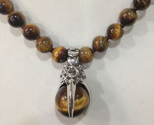 """Pretty 8mm Natural Yellow Tigers Eye Round Gemstone Beads Pendant Necklace 18"""""""