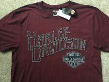 Harley Davidson Wavy Name Dark Red Shirt Nwt Men's Large
