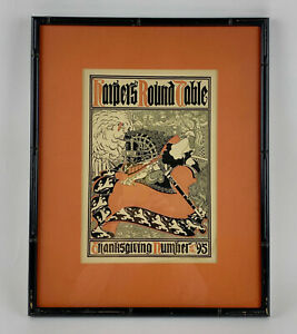 Original WILL BRADLEY HARPER'S ROUND TABLE THANKSGIVING Poster Art Nouveau RARE