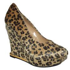 New Black Beige leopard cheetah wedge platform High Heel pump faux fur Size 8.5