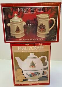 PFALTZGRAFF CHRISTMAS HERITAGE Sugar, Creamer, Tea for One ORIGINAL BOXES