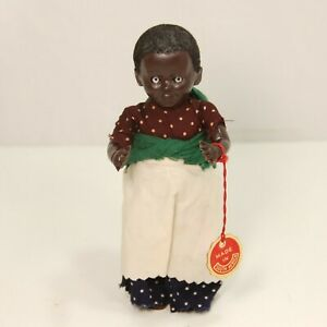 """Hard Plastic Doll African Lady w/ Flocked Hair & Baby  made in South Africa  6"""""""
