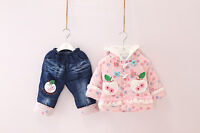 Girl Toddler 2PC Winter Coat Outfit Set Jacket Warm Pants 1-4yrs Apple Floral