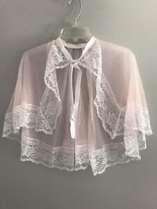 Vintage Betty Dain Creations Comb Out Cape Sheer Pink White Lace Trim Tie Belt