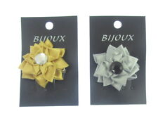 2 pack one silver and one gold satin ribbon center gem hair clip  6cm (a)