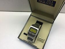 SEIKO 0624 5000 LC Quartz LCD Digital watch Lemon Face uhr MOT