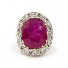 25.16ct Burma Ruby Diamond Platinum Ring SZ 6.25 AGL Certificate