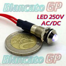 SPIA LED BIANCO 220V AC METALLO TONDO 8mm corrente alternata casa illuminazione