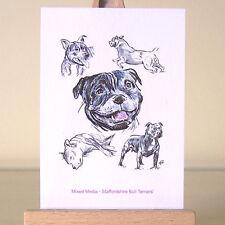 Staffordshire BULL Terriers-Cani sciolti staffies tecnica mista disegni ACEO Arte Carta