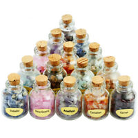 9 Mini Tumbled Stones Wish Glass Bottles Chips Crystal Healing Reiki Wicca Set