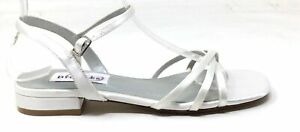 Dyeables Womens Palace Satin Ankle Strap Flat Sandals White Satin Size 5.5 M