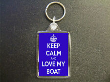 KEEP CALM AND LOVE MY BOAT BLUE KEYRING BAG TAG GIFT