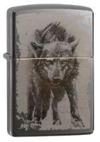 Zippo Photo Image Wolf Design Black Ice Windproof Pocket Lighter, 49073