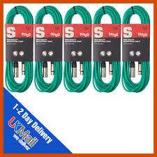 Stagg 5 X 10M Verde Micrófono XLR plomo y paquete de Cable de señal de audio