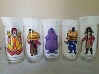 5 Vintage McDonald's Collector Series Glasses McCheese, Captain Crook, Grimace +