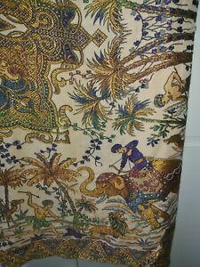 Vintage large Tapestry Wall Hanging Embroided Table Throw Indian Elephant