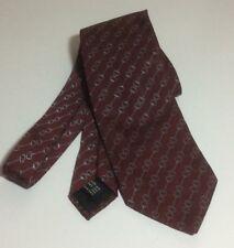 Authentic Gucci Neck Tie Dark Red and Silver Horsebit Equestrian EUC