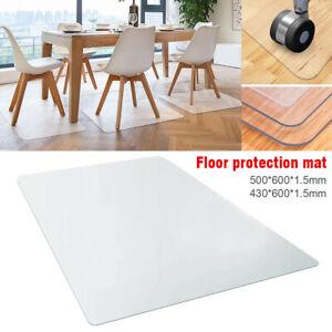Home Chair Floor Mat Computer Desk Carpet PVC Plastic Transparent 2 Size Office