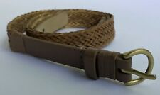Tommy Bahama M Brown Leather & Braided Straw Belt 3/4in wide Fits 34-38in
