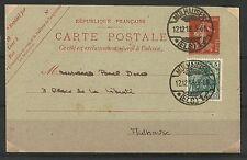 Entier C.P. français à 10 c + aff. complémentaire de 5 pf. du 12.12.1918