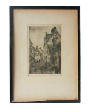 Antique European Town Sketch in Original Frame, Matted and Signed