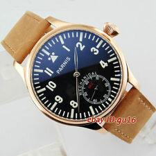 Parnis 44mm Gold color case Black Dial Mechanical 6498 Seagull st36 Watch 2077