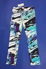 American retro jeans donna nuovo print pants skinny stretch w26 tg 40 sexy T3888